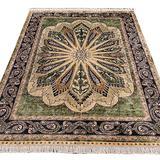 Yuchen Hand Knotted Persian Silk Rug 6x9 Green Handmade Oriental Area Silk Carpet for Living Room