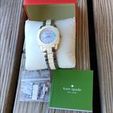Kate Spade Accessories | Kate Spade Rare Live Colorfully Two Tone Watch! | Color: Cream/Silver | Size: Approximately 6.25 Band 1 18 Face +1.5 Links