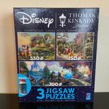 Disney Games   New! Disney Puzzles 3 In 1 Multipack By Kinkade   Color: Red/White   Size: Os