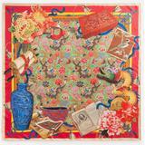 Twill Silk Foulard With Silk Road Print: 90 X 90cm- 35 X 35 Inches - Red - Dolce & Gabbana Scarves