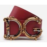 Calfskin Belt With Logo - Red - Dolce & Gabbana Belts