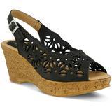 Abigail Platform Wedge Sandal - Black - Spring Step Heels