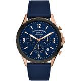 Forrester Chronograph Leather Strap Watch - Blue - Fossil Watches