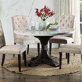 """Canora Grey Fasano 54"""" Pedestal Dining Table Wood in Brown/Gray/White, Size 30.0 H x 54.0 W x 54.0 D in 