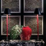 Port 68 Marais Red Leather Stem Buffet Table Lamps Set of 2