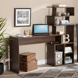Baxton Studio Foster Modern Walnut Brown Finished Wood Storage Desk /w Shelves - Wholesale Interiors SESD8014WI-Columbia-Desk