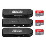 Mobile Deals Portable Memory Card Reader 3-in-1 USB 2.0 and Micro USB to USB-C OTG Adapter for SDXC, SDHC, SD, MMC, Micro SDXC, Micro SD, Micro SDHC, UHS-I + SanDisk 128GB Ultra Memory Card (3-Pack)