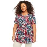 Plus Size Women's V-Neck Easy Fit Tee by Catherines in Floral Print 2 (Size 0X)