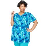 Plus Size Women's V-Neck Easy Fit Tee by Catherines in Blue Floral (Size 4X)