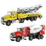 JSY Two in One Suit Die-cast Metal Toy Car Alloy Cement Mixer Concrete Pump Truck Simulation Engineering Vehicle Model Cognitive Collection Gift Die-Cast Vehicles