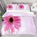 FOLPPLY Pink Gerbera Daisy Flower Duvet Cover Set, California King Bedding Set 3 Pieces, Comforter Sheet Set with Pillow Shams Room Decor for Boys Girls Teens Adults