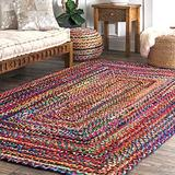 Cotton Chindi Rag Rug - 8x10 Feet Rectangle Hand Braided Bohemian Decorative Colorful Woven Area Rug - Recycled Braided Chindi Rugs- Biodegradable
