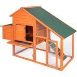 "Hommetree Pet Weather Resistant Rabbit Hutch w/ Ramp, Solid Wood in Green, Size 47""H X 67""W X 25""D | Wayfair LGWF038024DAA"