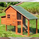 Sero Weather Resistant Rabbit Hutch w/ Ramp Solid Wood in Brown, Size 47.0 H x 67.0 W x 26.0 D in | Wayfair YLCB324