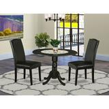 Alcott Hill® Beverley Drop Leaf Rubberwood Solid Wood Dining Set Wood/Upholstered Chairs in Black, Size 29.5 H in | Wayfair