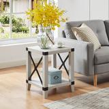 Laurel Foundry Modern Farmhouse® Mignon End Table w/ Storage Wood in White, Size 22.0 H x 18.0 W x 18.0 D in | Wayfair