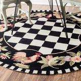 August Grove® Bacourt Checkered Hand Hooked Area Rug in Black, Size 96.0 H x 96.0 W x 0.5 D in   Wayfair AGGR1333 34933345
