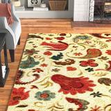 Andover Mills™ SantaClara Floral Tufted Red/Beige Area Rug Nylon in Black, Size 45.0 W x 0.43 D in | Wayfair DA124DECCC5C4FC5A156A6147E4BA506