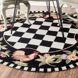 August Grove® Bacourt Checkered Hand Hooked Area Rug in Black, Size 72.0 H x 72.0 W x 0.5 D in   Wayfair AGGR1333 34933342