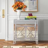 Etta Avenue™ Caila 1 Door Mirrored Accent Cabinet Wood/Metal in Gray, Size 28.25 H x 28.5 W x 13.5 D in | Wayfair ROSP4365 41344143