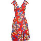 Bow-embellished Pleated Floral-print Cotton-blend Dress - Red - Carolina Herrera Dresses