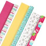 Hallmark All-Occasion Cupcakes, Polka-Dots, Stripes & Flowers Reversible Wrapping Paper Bundle, Multicolor