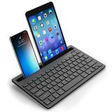 Bluetooth Keyboard for Tablet iPad, LEKVEY Multi-Device Rechargeable Wireless Keyboard with Holder for iPad Air/Pro/Mini, iPhone, Android Windows Tablets, Black