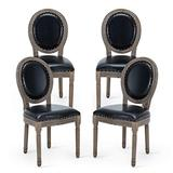 AVAWING Farmhouse Leather Dining Room Chairs 4 PCS, French Chairs with Round Back, Brown Wood Legs, Oval Side Chairs for Dining Room/Living Room/Kitchen/Restaurant, Black