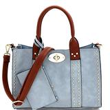 Twist Lock Studded 3 in 1 Soft Structure Plain & Ostrich Vegan Leather Tote Purse Handbag with Crossbody SET (Plain Vegan Leather - Light Blue/Brown)