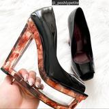 Jessica Simpson Shoes | Jessica Simpson Black Pump Patent Wedge Platform | Color: Black/Brown | Size: 6