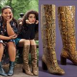 Anthropologie Shoes | New Anthropologie Cormac Snake Knee High Boots | Color: Black/Yellow | Size: 7