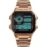 Watches for Men Digital Watch with Stainless Steel Strap Waterproof Watch Alarm Clock Dual Time Zone Luminous Electronic Stopwatch Sports Simple Watch Men