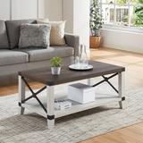 Loon Peak® Cregganboy Coffee Table w/ Storage Wood in White/Brown, Size 18.0 H x 40.0 W x 22.0 D in   Wayfair AC487F2AC8124B949B2F04CC5FF8A5C1