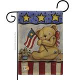 """Murial The Holiday Aisle® G161006-Db Pat Bear Burlap Americana Patriotic Impressions Decorative Vertical 13"""" X 18.5"""" Double Sided Garden Flag in Gray"""