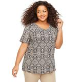 Plus Size Women's Suprema Ultra-Soft Scoopneck Tee by Catherines in Black Medallion (Size 4X)