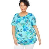 Plus Size Women's Suprema Ultra-Soft Scoopneck Tee by Catherines in Blue (Size 1X)