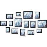 Solid Wood Picture Frames Collage with Placement Template,15Pcs Black Picture Frames Set, 8X10 Frames ,5X7 Frames ,5inch Frames
