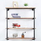 Floating Shelves for Wall Industrial Pipe Shelving,Rustic Pipe Shelves with Wood Iron Pipe Shelf,Metal Floating Shelf Wall Mounted Bookshelf Unit,Bar Wall Shelves Hanging Book Shelves(4 Tier,36in)