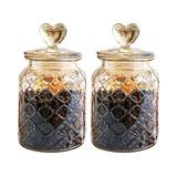 YY Vintage Style 2-Pack Amber Glass Food Storage Jars Canister Crystal Candy Jar, Clear Glass Apothecary Jar Wedding Candy Buffet Jar Food Jar (Diamond Lattice, 2-Pack Mediem 32Oz)