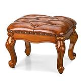 Voikinfo Leather Footstool Small Foot Rest Stool Chair Stool Sofa Stool Short Ottoman Rubberwood Faux Leather Retro Furniture Vintage Stool for Living Room