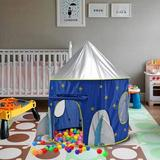 Hamiltion Rocket Ship Astronaut Space Play Tent For Children's House Polyester/Mesh in Blue/Gray, Size 51.0 H x 41.0 W x 41.0 D in | Wayfair