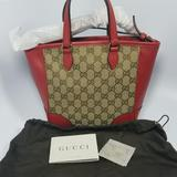 Gucci Bags | Gucci Red Leather Gg Canvas Bree Tote | Color: Red/Tan | Size: Os