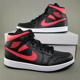 Nike Shoes | Nike Air Jordan 1 Mid Siren Red Shoes Womens 10.5 | Color: Black/Red | Size: 10.5