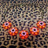 J. Crew Jewelry | Orange Floral J. Crew Necklace | Color: Orange/Pink | Size: 18