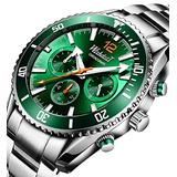 Mens Watch Chronograph Stainless Steel Waterproof Analog Quartz Movment Sports Military Automatic Date Luminous Fashion Business Luxury Green WristsWatch Classic Digital Calendar Simple Uniqe Gifts