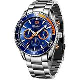 Mens Watch Chronograph Stainless Steel Waterproof Analog Quartz Movment Sports Military Automatic Date Luminous Fashion Business Luxury Blue WristsWatches Classic Digital Calendar Simple Uniqe Gifts