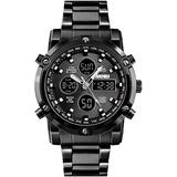 Watches for Men Military Watch Analog-Digital Watch Tactical Watch Bomber Racing-Style Three Time Zones Stopwatch Sports Outdoor Mens Fashion Giftwatch Waterproof Watch