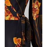Stela Caramel Printed Long-sleeve Midi Wrap Dress - Black - Ted Baker Dresses