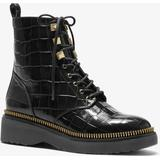 Haskell Crocodile Embossed Leather Combat Boot - Black - Michael Kors Boots