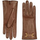 Leather Gloves With Horsebit - Brown - Gucci Gloves